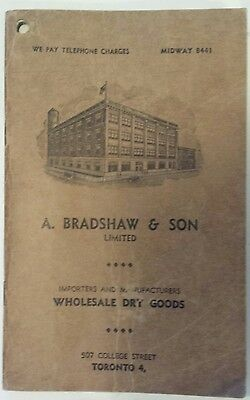 "Rare Canadian ""a.bradshaw & Son Ltd. Toronto, Ont."" Advertising Notebook"