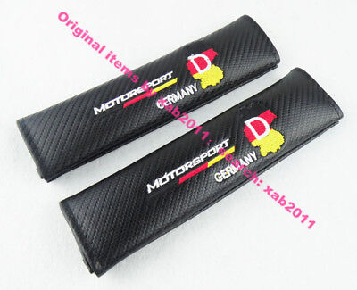 2x car Germany Motorsport Embroidery Seat Belt Shoulder Pads Cover Cushion