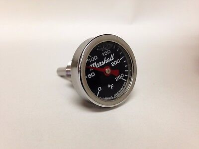 Direct Mount Engine Thermometer, 0-250F, Black Dial, Liquid Filled