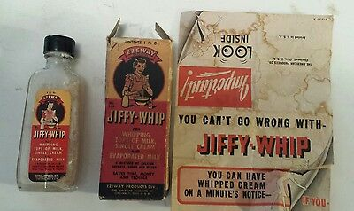 "Rare American ""ezeway Jiffy-Whip"" 1 Ounce Bottle -Two Paper Labels - Empty"