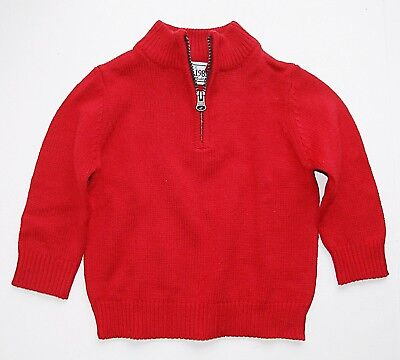 Children's Place toddler boys LS red mock neck half zip cardigan sweater 12-18m