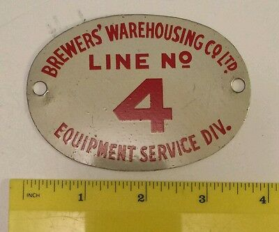 """A Canadian (Ontario) """"brewer's Warehouse Co. Ltd. Line #4"""" Porcelain Metal Plate"""