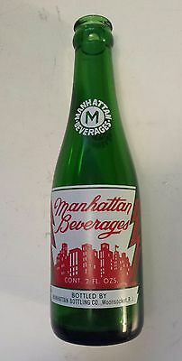 """Rare American (Woonsocket, R.i.) """"manhattan"""" 7 Oz Green Bottle - Red & White Acl"""