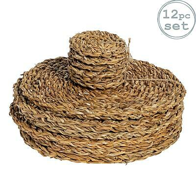 Round Straw Placemats & Coasters Dinner Water Hyacinth Weave - Sea Grass - x12