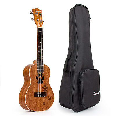 Kmise Mahogany Travel Ukulele Concert 23 inch Ukelele Hawaii Guitar with Bag