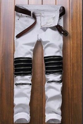 Men's New White Zippered Straight Leg Jeans