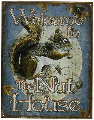 Squirrel Metal Tin Sign Welcome Wildlife Rustic Cabin House Animal Gift Picture