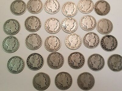 barber silver half dollar lot of 27 coins 90% silver