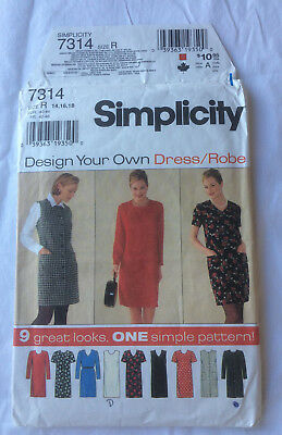 Simplicity no.7314 Shift dress in 9 styles multi sizes 14-16-18