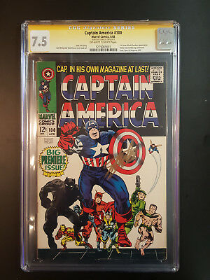 Captain America  100 Cgc 7.5  Ss Stan Lee 1St Issue App Black Panther L@@k @ It