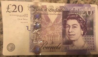 British 20 Pounds Banknote Real Currency You Will Receive The Note In Picture £