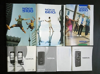 8 x Original Nokia English User Manual Nokia 8310 6610i 2720 5100 X2-05 as SET