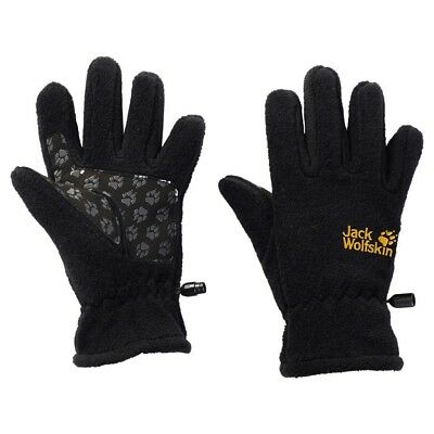 (116 (EU), Black - black) - Jack Wolfskin Children's Fleece Gloves