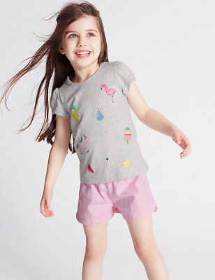 BNWT M&S GIRLS PYJAMAS, PJS,  AGE 3-4 YEARS, SHORTIES, Pony Design