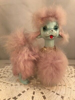 Vtg 50's Japan National Pottery Blue Poodle Dog Pink Faux Fur Figurine