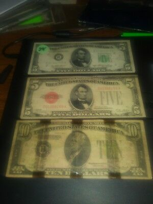 Lot 452 old us paper money. Red seal 5 1928 great seal 1950. Ten 1934