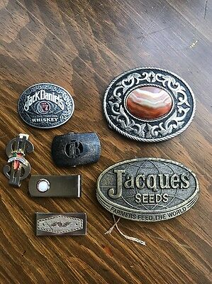 Lot Of 7 Vintage Belt Buckle And Money Clips .. Western Cowboy