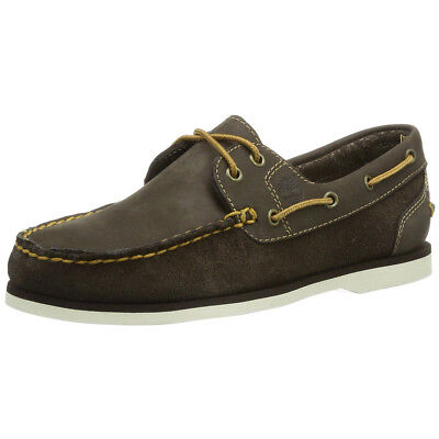 Timberland Women's NEW Classic 2-Eye Slip On Suede Leather Brown Boat Shoes
