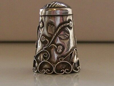 Nice Sterling Silver Vintage Continental Wire Work Thimble