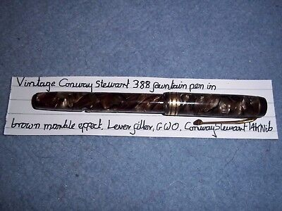 Vintage Conway Stewart 388 fountain pen in brown marble, lever filler, GWO, used