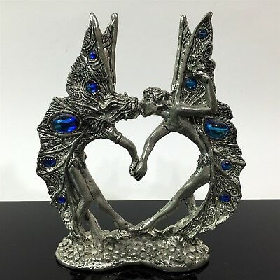 LARGE Mystical Fairy Faerie Love Heart Spirit Pewter Fantasy Rhinestone Figurine