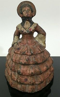 VTG Antique Cast Iron Victorian Colonial Woman Lady w/ Pink Dress Home Doorstop