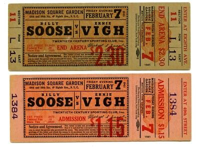 1941 Billy Soose v Ernie Vigh Boxing Full Tickets Madison Square Garden (2)