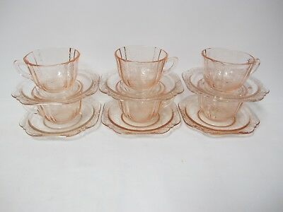 Set Of 6 Madrid Pink Cups And Saucers-Reproduction