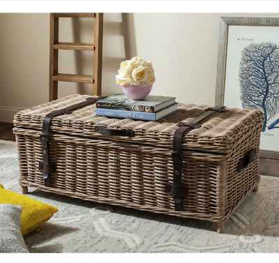 Rattan Storage Trunk Coffee Table Wicker Chest Lined Solutions Blanket Toy Kids