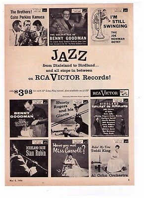 "1956 ""Jazz"" RCA VICTOR Records ""Benny Goodman"" Vintage Print Advertisement"