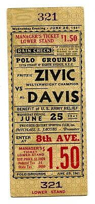 1941 Zivic v Davis Boxing Full Ticket Manager's Ticket Benefit Army Relief
