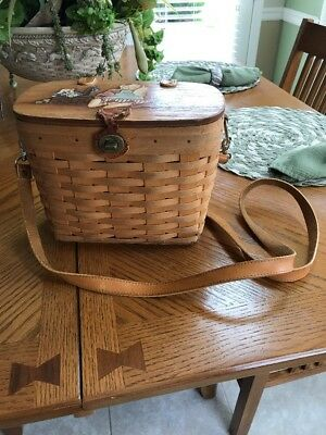 1996 Longaberger Tall Shoulder Purse Basket Combo protector & liner Hand Painted