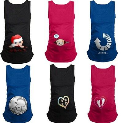 """Christmas Maternity T-shirt Baby """"Peeking Out"""" Funny Pregnant Top Vest Clothes"""
