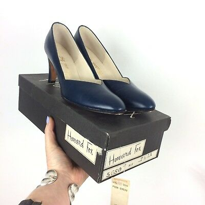 Deadstock Vtg 60s Navy Blue Leather Pumps Court Shoes 5 AA High Heels Howard Fox
