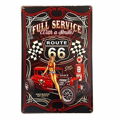 T-ray Tin Metal Wall Decor Sign Vintage Poster Arts Route 66 Pin Up Girls Garage