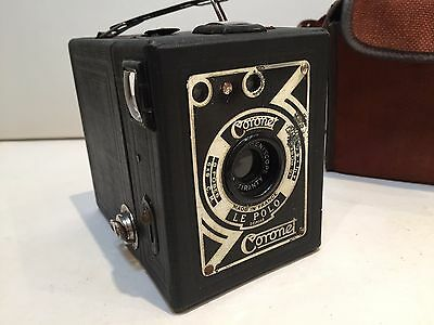 Vintage French Coronet Box Camera With Case - Made In France - Le Polo - Rare
