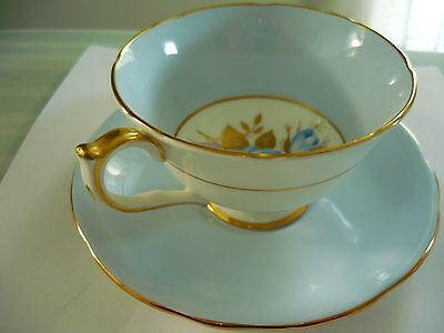 VTG AYNSLEY FINE BONE CHINA Cup and Saucer  Blue with Blue Roses #C2194 ENGLAND
