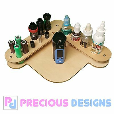 wood corner Vape stand / tray, e juice, tanks, battery, mod box, drip tip holder
