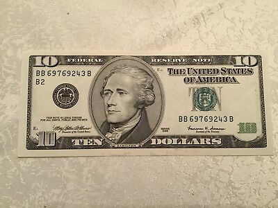 Series 1999 USA Federal Reserve Note $ 10  BB69769243B Uncirculated