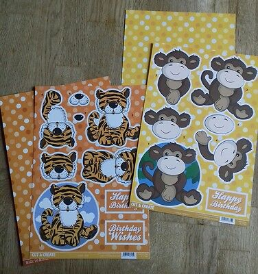Craftstyle Cut & Create 3D Decoupage Monkey and Tiger A4 Sheets & Backing Card