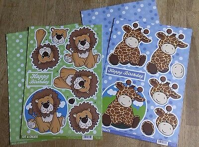 Craftstyle Cut & Create 3D Decoupage Lion and giraffe A4 Sheets & Backing Card