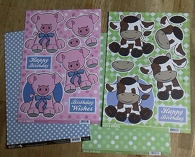 Craftstyle Cut and Create 3D Decoupage Cow and Pig A4 Sheets with Backing Card