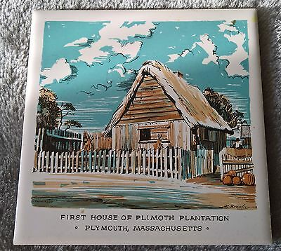 ScreenCraft Coaster Tile ' First house of Plimouth Plantation' Plymouth Mass.USA