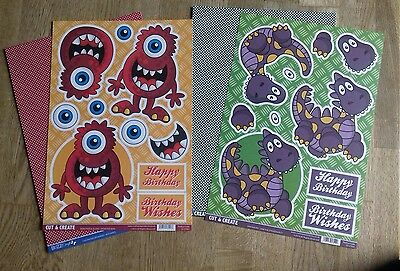 Craftstyle Cut & Create 3D Decoupage Monster & Dino A4 Sheets & Backing Card