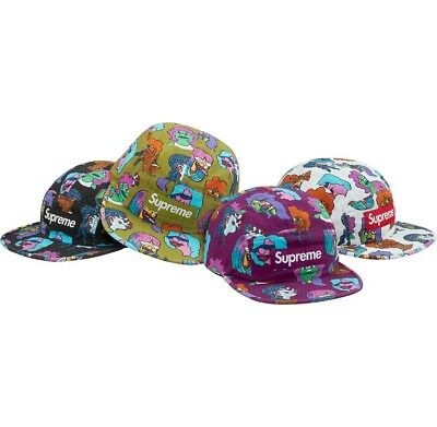 2218c205e1f SUPREME Gonz Heads Camp Cap Plum Black White Moss green purple box logo F W