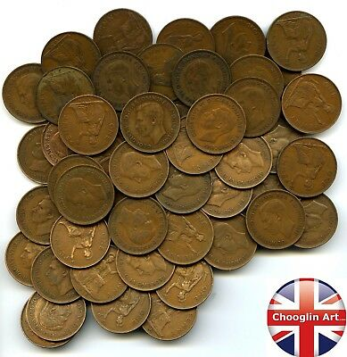 Collection (x50) British Bronze 1938 GEORGE VI PENNY Coins