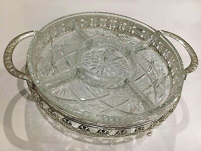 Vintage Silver Plated & Glass Serving Dish Made In England