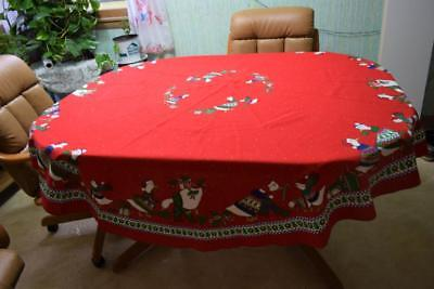 """Christmas Tablecloth Duck Family Sunweave Linen Corp Polyester-Cotton 70"""" ROUND"""