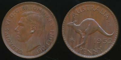 Australia, 1952(p) One Penny, 1d, George VI - Uncirculated