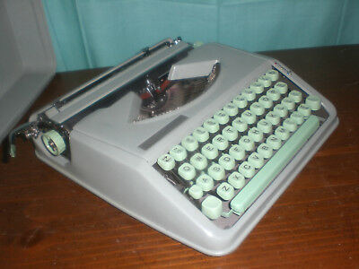 NM 1950's Green Uranium Key Retro Swiss Made Compact Hermes Baby Typewriter